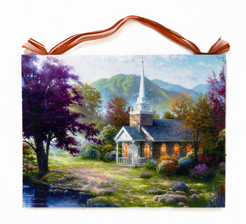 White Church Surrounding Nature Lighted Canvas Wall Art