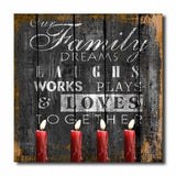 Family Quote, Dreams, Laughs, Loves Lighted Home Sign Canvas Wall Art Print