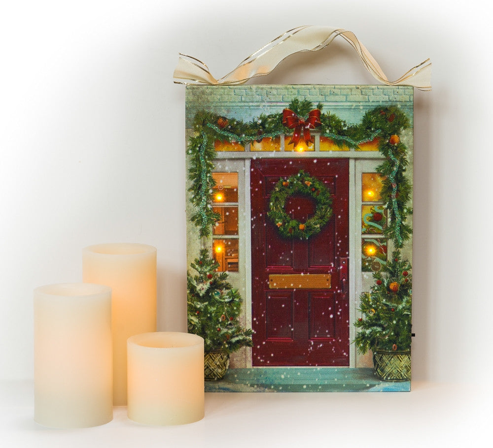 Inviting Christmas Red Door Entryway Lighted Sign Canvas Wall Art Print