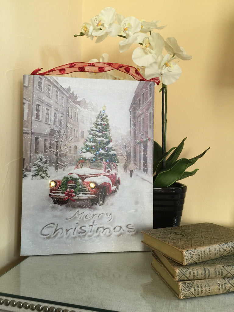Merry Christmas Vintage Red Pickup Truck Lighted Canvas Wall Art