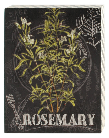 Rosemary Herb Botanical Print Wood Shadow Box Sign