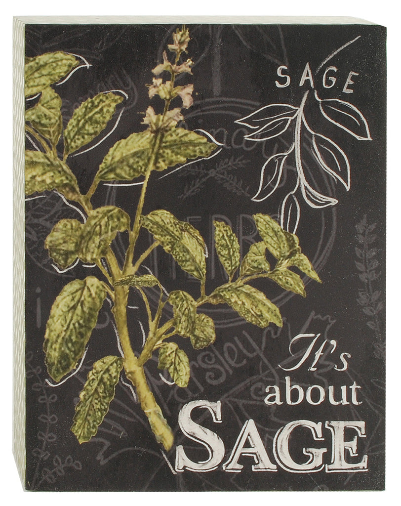 Sage Herb Botanical Print Wood Shadow Box Sign