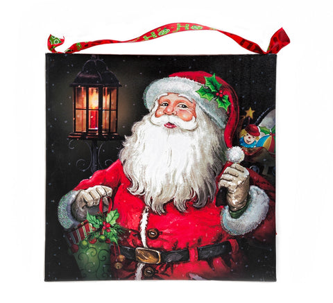 Old Fashioned Vintage Santa Clause Holding a Lantern Lighted Canvas Wall Art