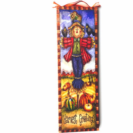 Harvest Fall Scarecrow Lighted Canvas Wall Art