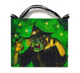 Halloween Green Witch Lighted Sign Canvas Wall Art Print