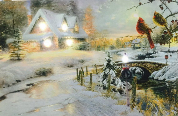 Two Birds Winter Scene Nature Landscape Lighted Canvas Wall Art Print