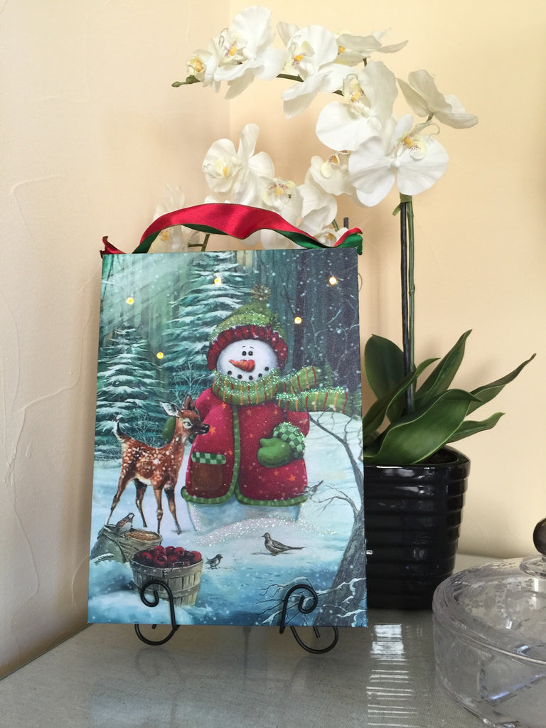 Primitive Snowman With Deer Lighted Canvas Wall Art