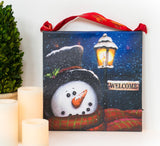 Welcome Snowman Lighted Canvas Wall Art