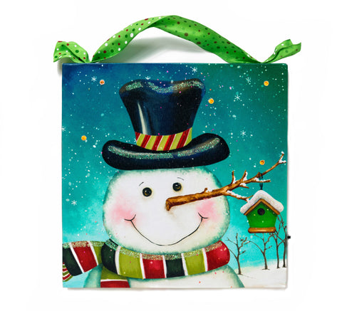 Snowman With Birdhouse Lighted Canvas Wall Art