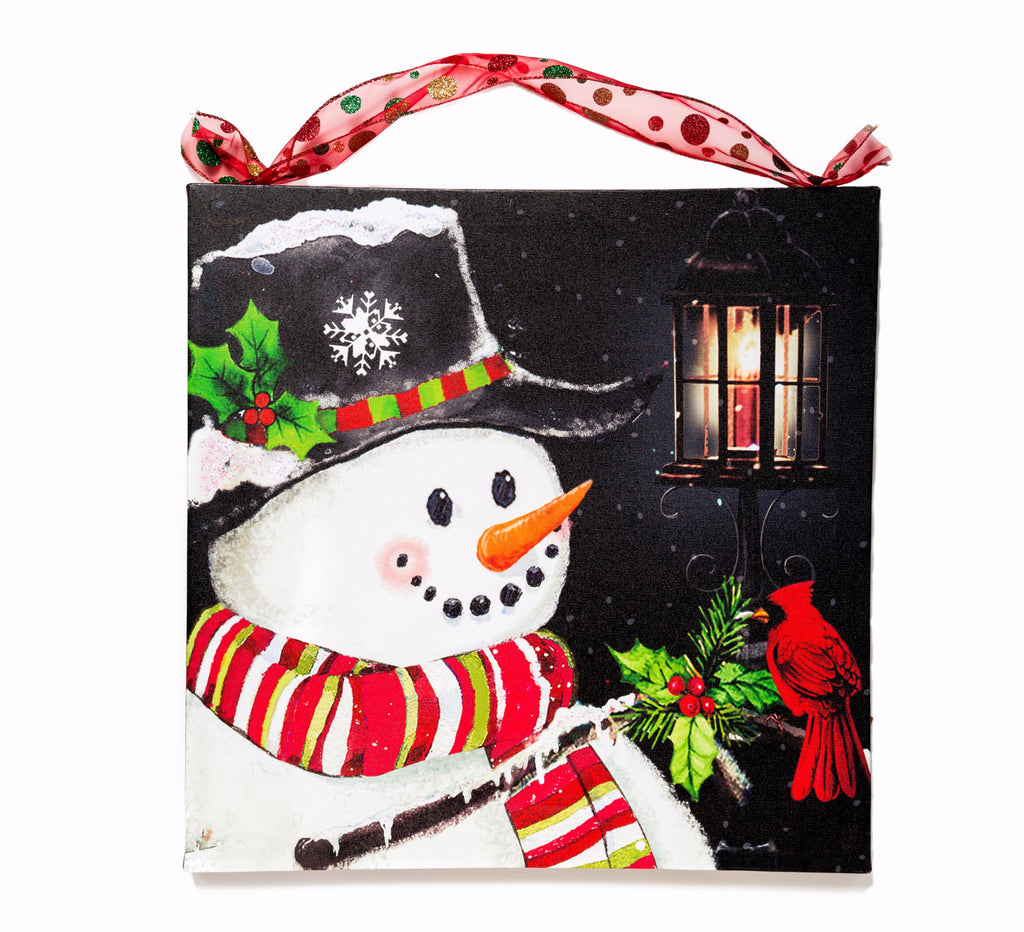 Snowman  With Holly Lighted Canvas Wall Art