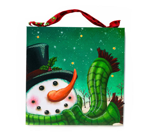 Snowman With Green Scarf Lighted Canvas Wall Art