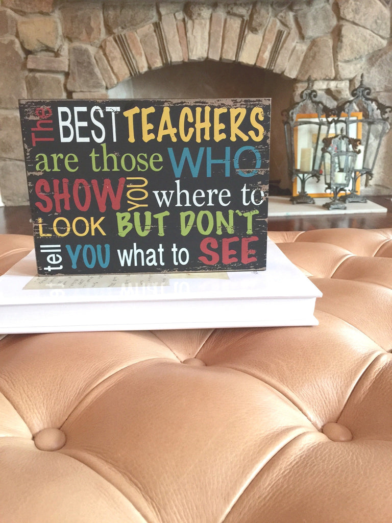 Best Teacher Multicolored Wood Shadow Box Sign