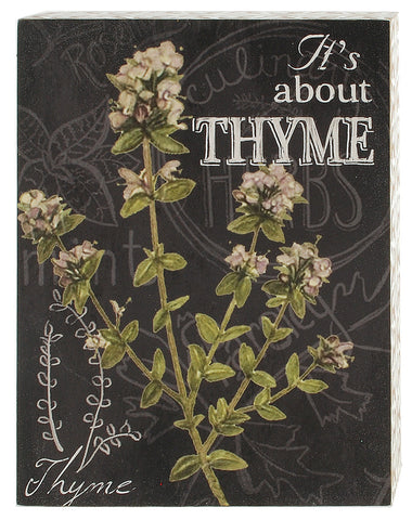 Thyme Herb Botanical Print Wood Shadow Box Sign