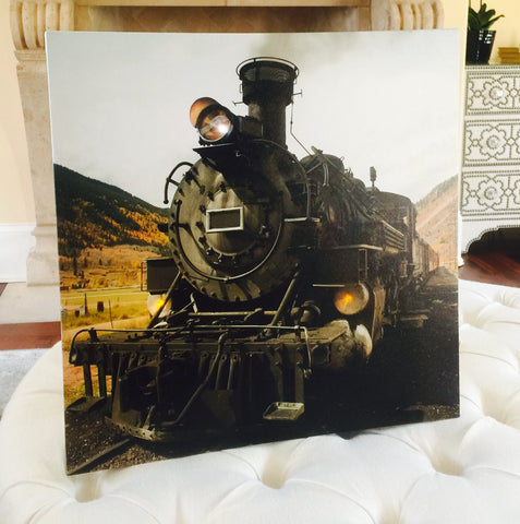 Vintage Steam Engine Train Lighted Canvas Wall Art Print