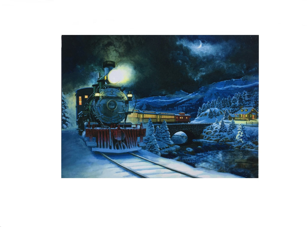 Vintage Steam Diesel Engine Lighted Canvas Wall Art Print