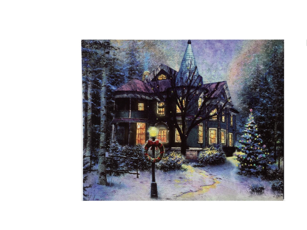 Old Vintage Victorian House Lighted Canvas Wall Art Print