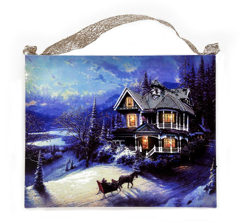 Vintage Inspired Victorian Home Lighted Canvas Art