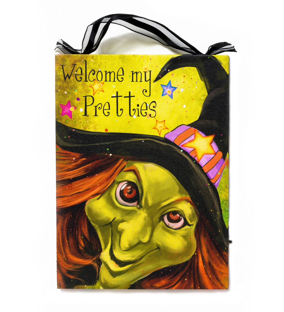 Welcome My Pretties Lighted Canvas Wall Art