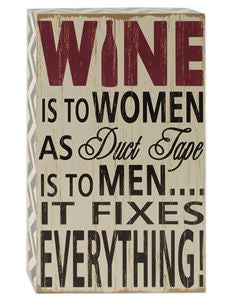 Wine Is To Women Wooden Shadow Box Sign
