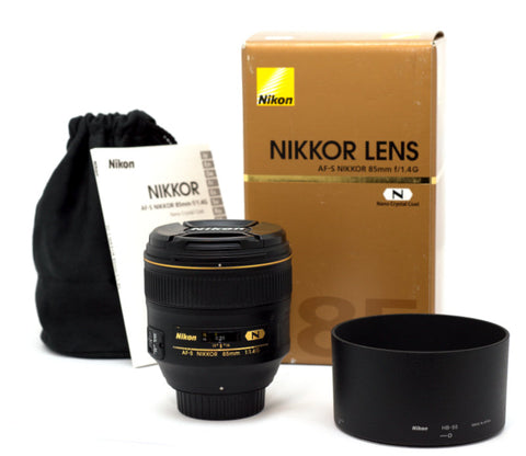 NIKON AF-S NIKKOR 85/1.4 G NANO LENS, MINT CONDITION