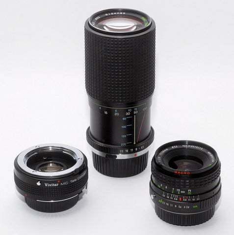 THREE LENS KIT FOR NIKON AI CAMERAS, 28mm WIDE-ANGLE, TELE ZOOM, 2X CONVERTER
