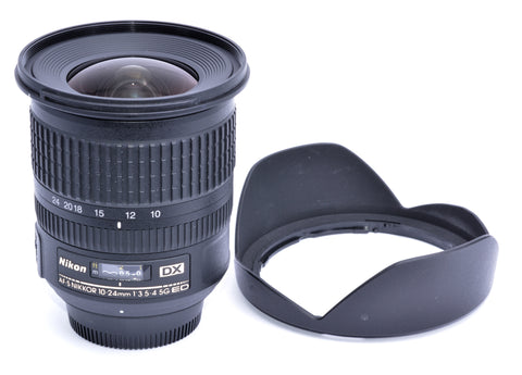 NIKON AF-S NIKKOR 10-24/3.5-4.5 G ED DX 10-24mm ZOOM LENS, MINT