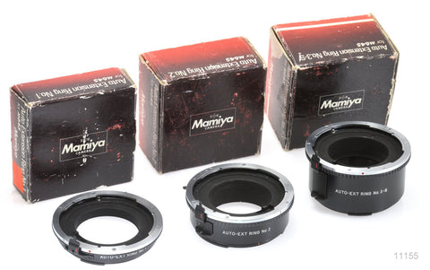 USED MAMIYA AUTO EXTENSION MACRO RINGS - SET OF 3 - FOR 645 CAMERAS