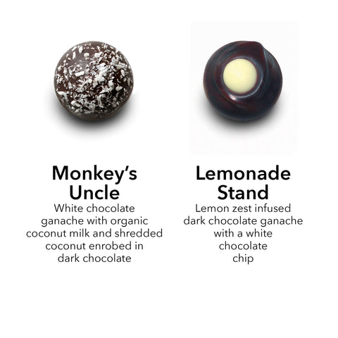 coconut truffle / lemon zest truffle / dark chocolate