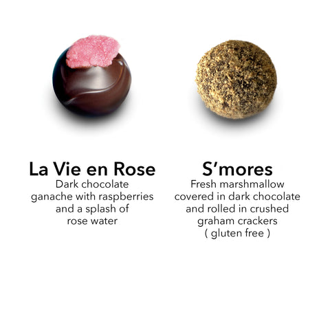 la vie en rose raspberry chocolate truffle / s'more truffle