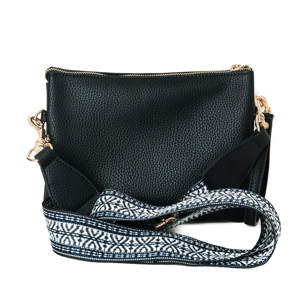 Eline ribbon zipper cross Black