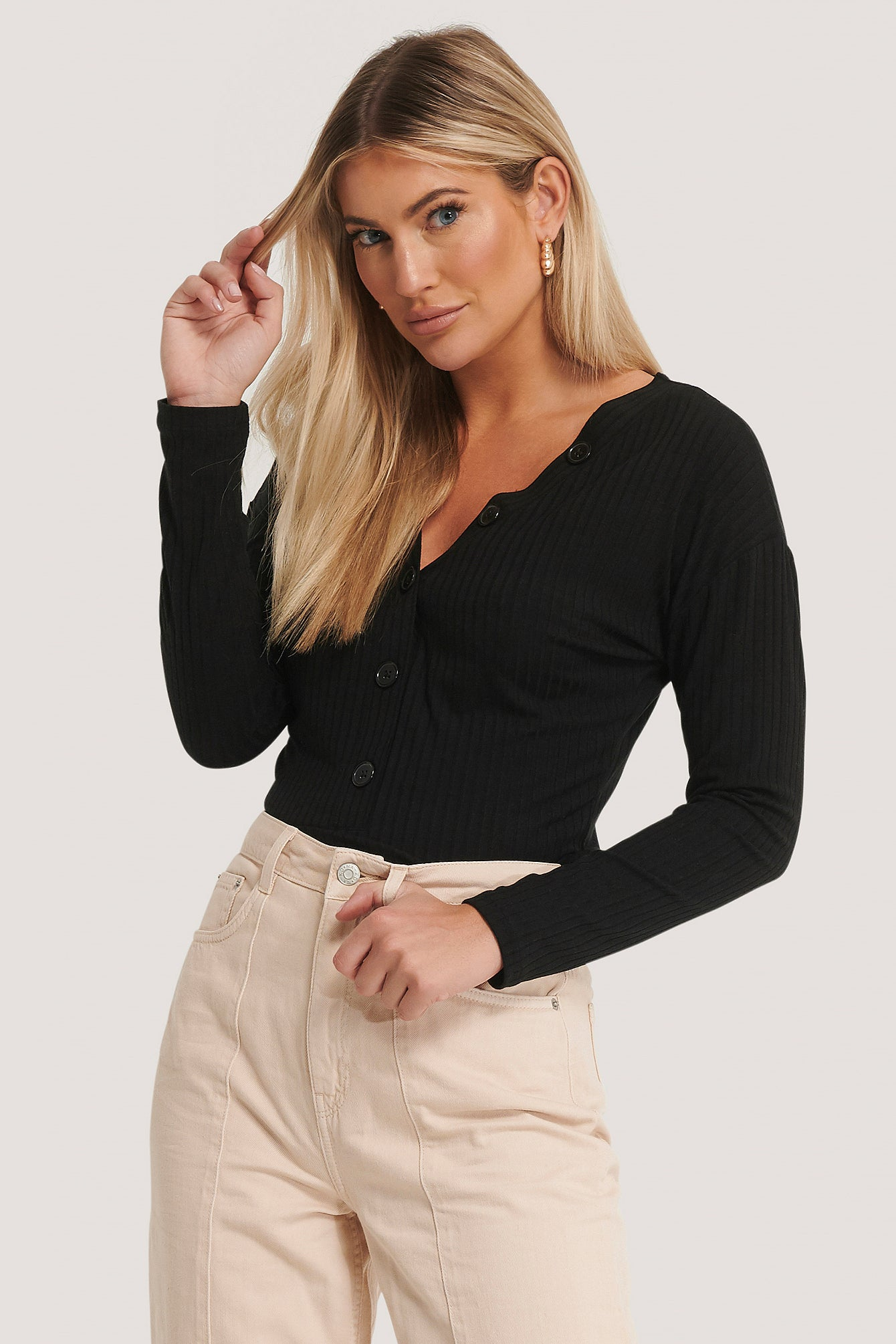 Ribbed Jersey Button Top Black