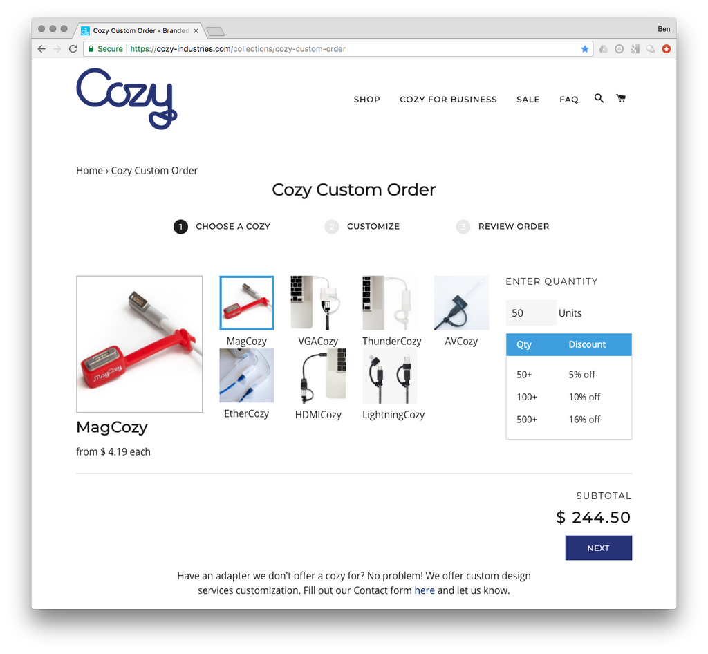 Custom Cozy Builder- Your cozy in your brand!