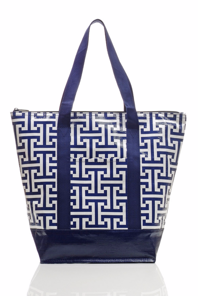 Navy Geometric Tote Bag