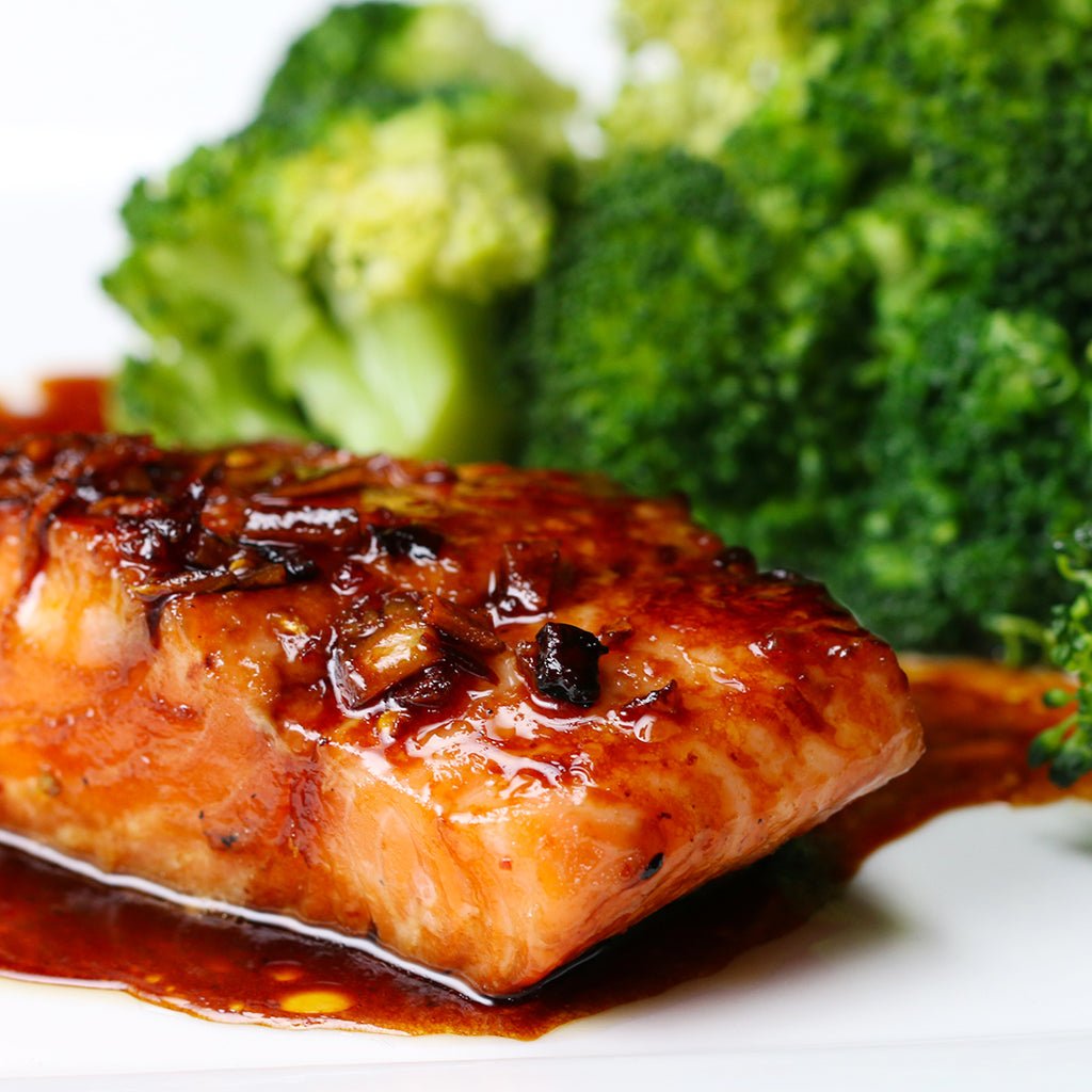 HONEY GINGER GLAZED SALMON - TWO 6 OZ PIECES