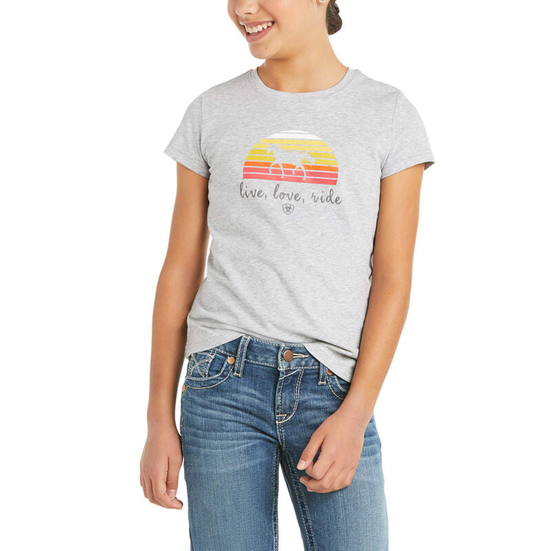 Kids Live Love Ride SS T-Shirt - Heather Grey