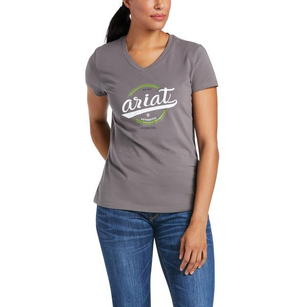 Womens Authentic Logo SS T-Shirt - Plum Grey