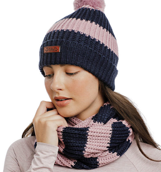 Womens Knitted Hat and Snood Navy/Pink