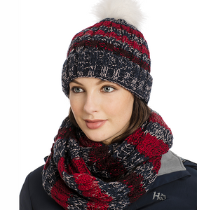 Womens Knitted Hat and Snood Navy Stripe