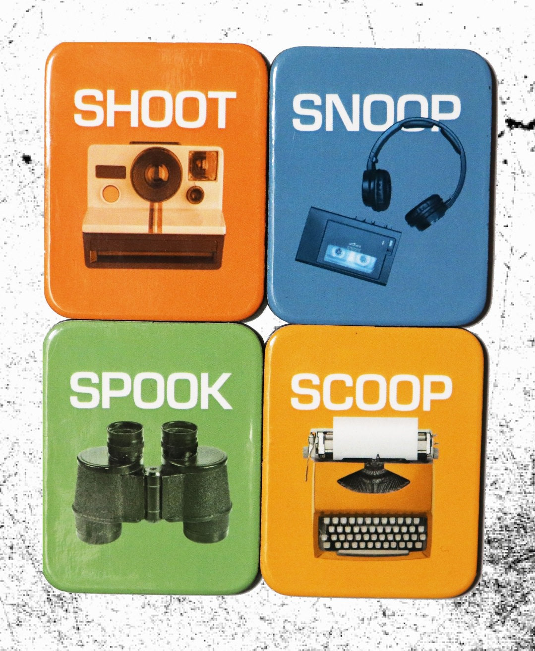 Shoot, Snoop, Spook, Scoop Magnet Set