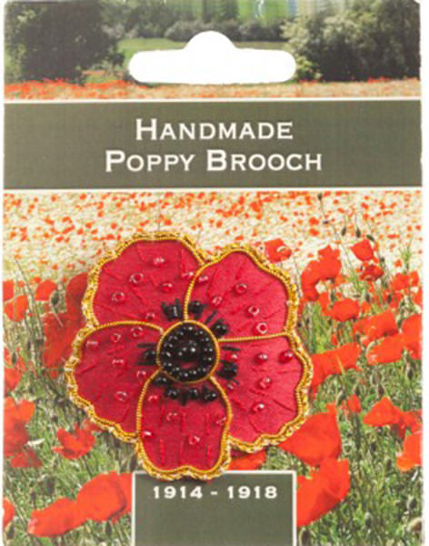 Remembrance Poppy Hand Embroidered Brooch