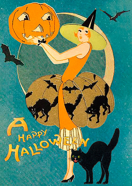 Black Cat & Pumpkin Halloween Card