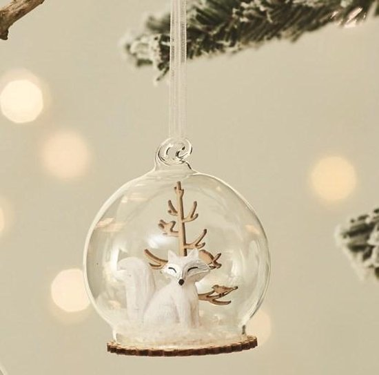 Winter Forest Fox Snow Globe Bauble Hanging Decoration