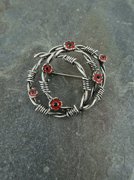 Poppy Barbed Wire Wreath Brooch