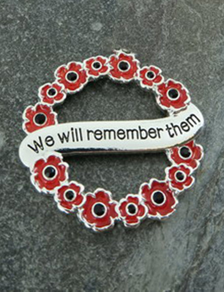 Poppy Wreath 'We Will Remember Them' Brooch