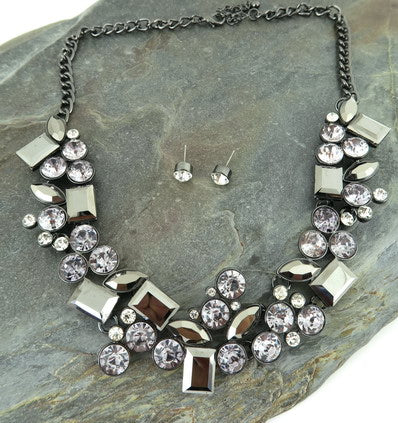 1950's Inspired Rhinestone Costume Gem Necklace