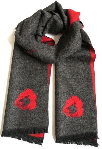 Grey and Red Poppy Scarf
