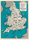 'Map of England & Wales' Greetings Card