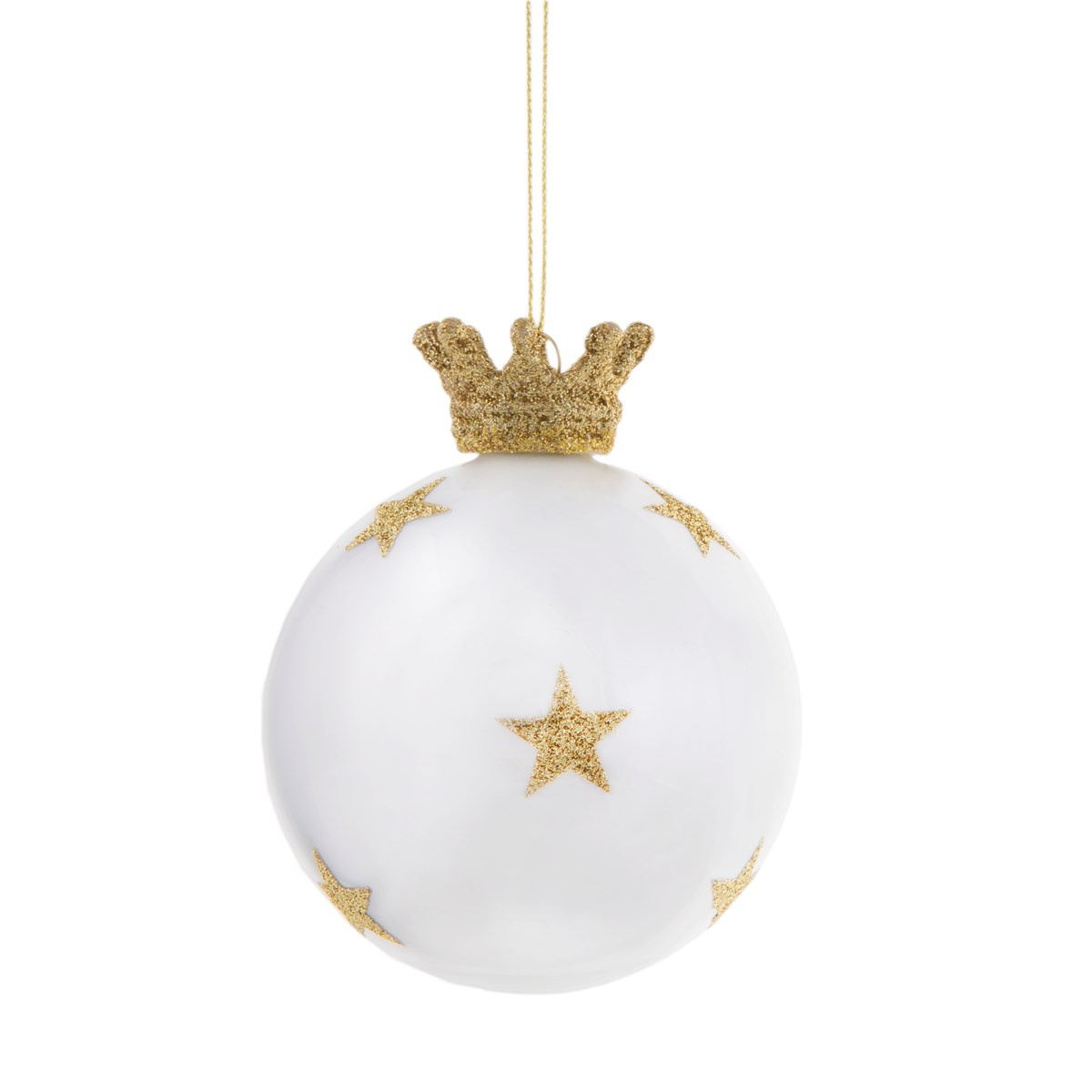 Glossy White Golden Stars & Crown Glass Bauble