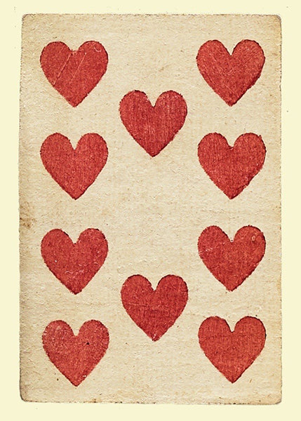 'Ten of Hearts' Greetings Card