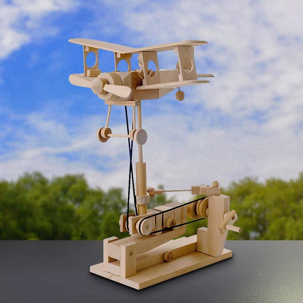 Bi-Plane Automaton Wooden Mechanical Model Kit